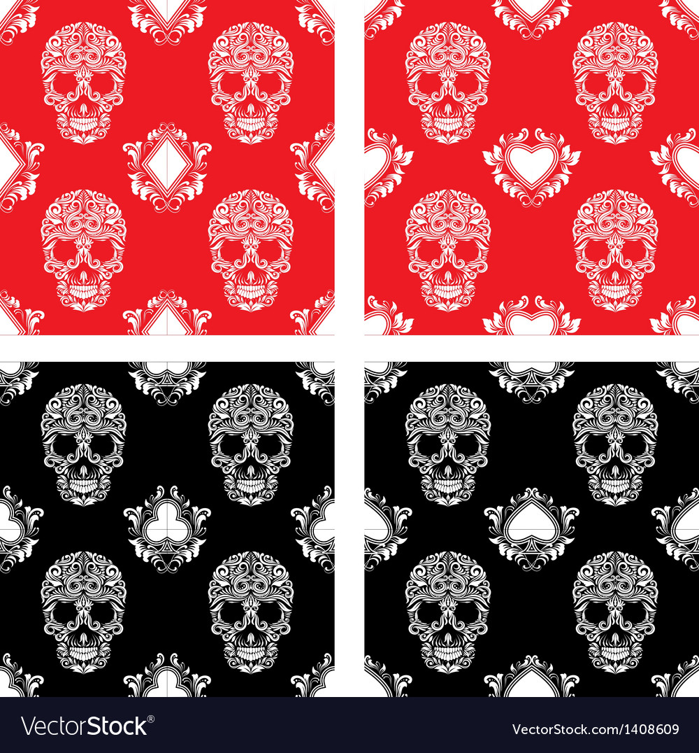 Playing card and skull ornamental pattern vector | Price: 1 Credit (USD $1)