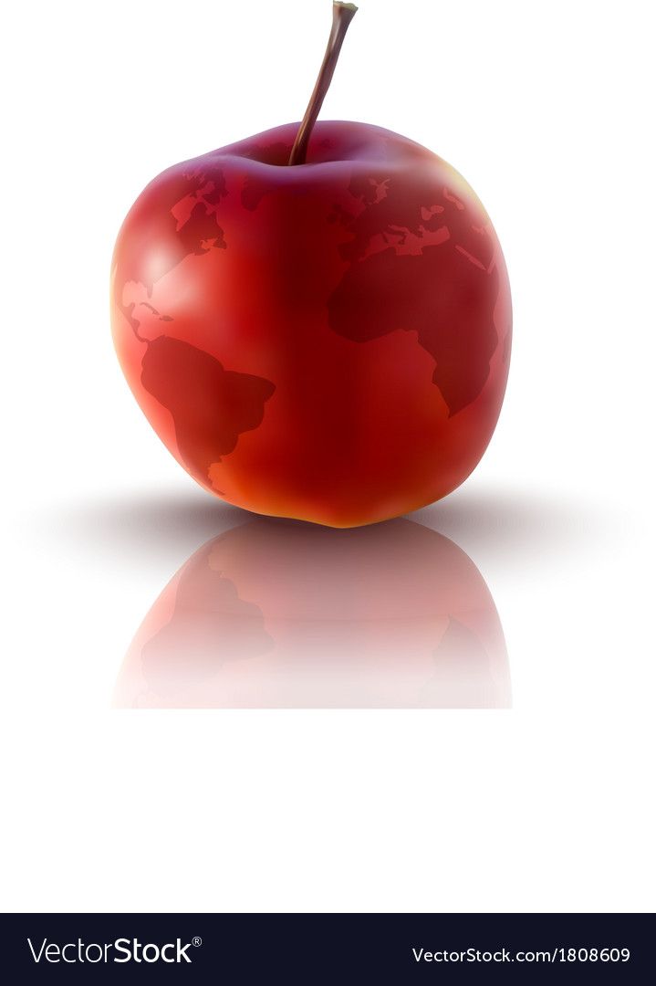 Red apple with planet earth vector | Price: 1 Credit (USD $1)