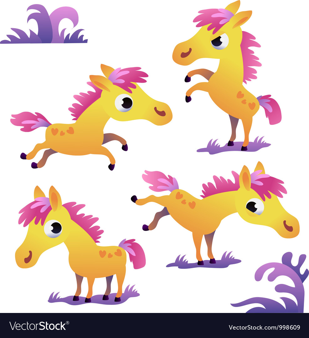 Set of cute cartoon pony vector | Price: 1 Credit (USD $1)