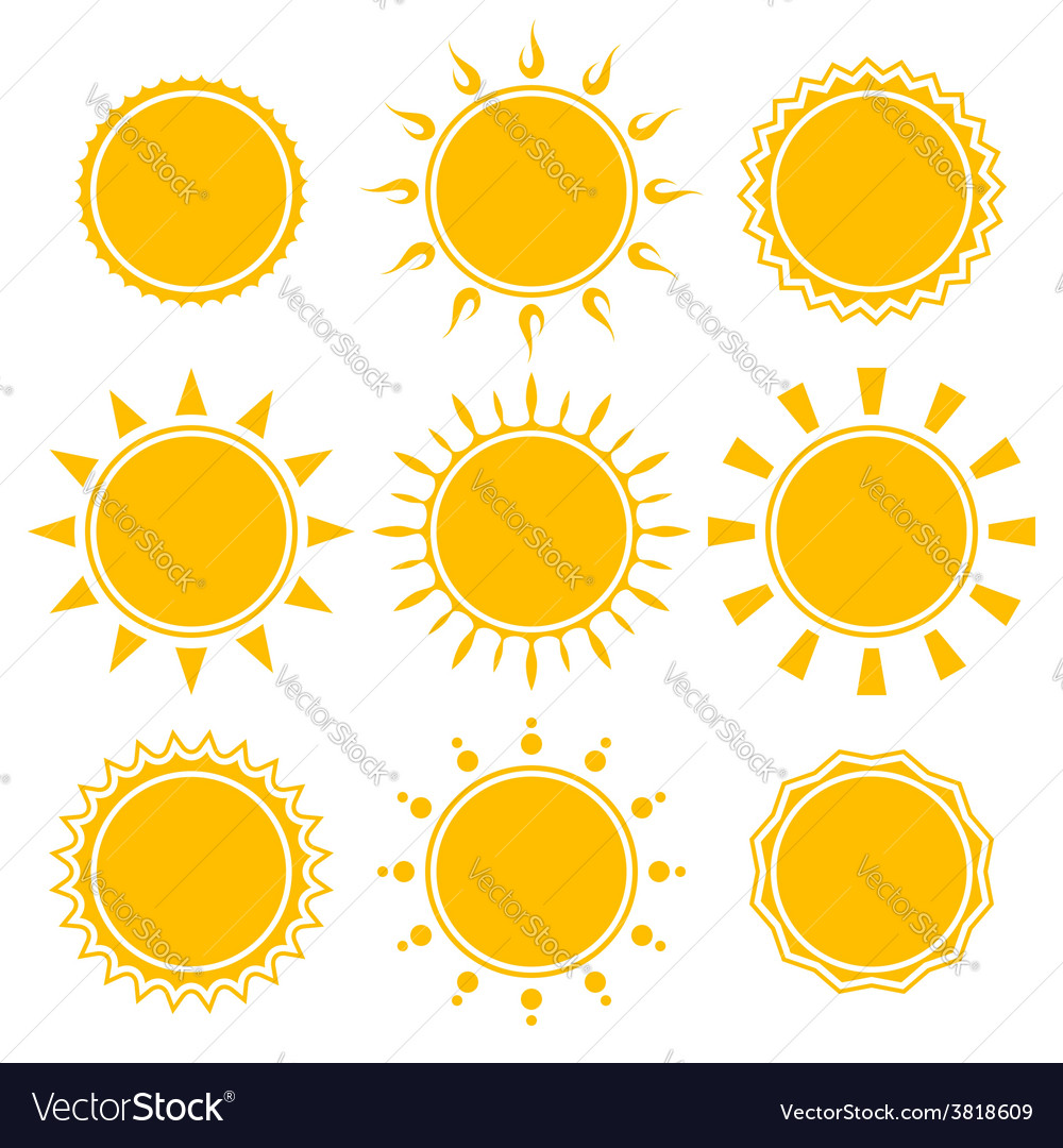 Set of shiny bright yellow sun vector | Price: 1 Credit (USD $1)