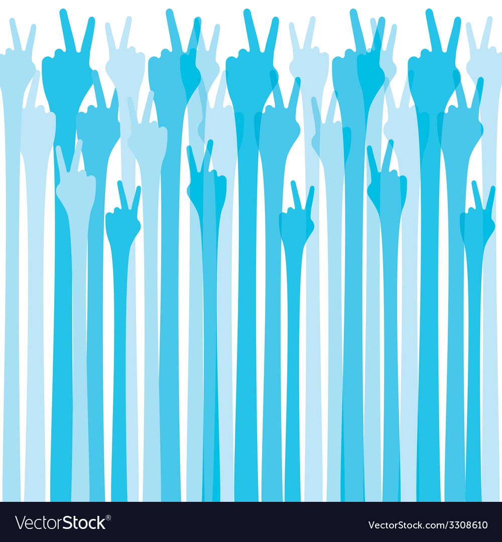 Blue hand show victroy sign background vector | Price: 1 Credit (USD $1)