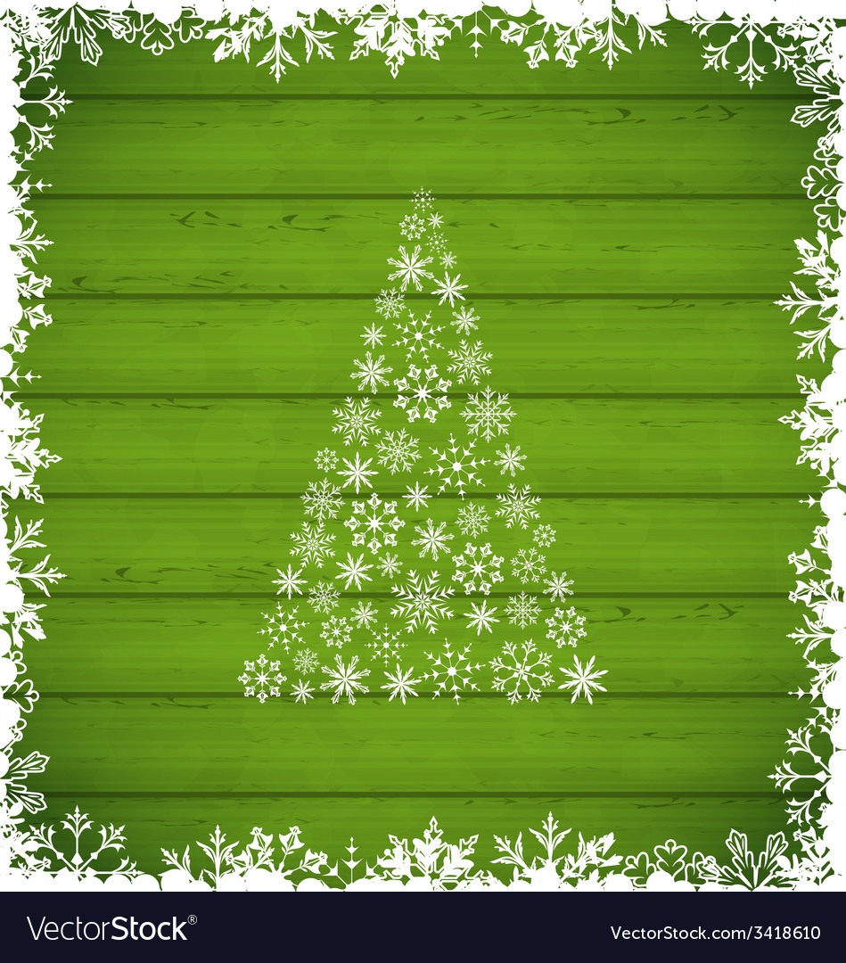 Christmas pine and border made of snowflakes on vector | Price: 1 Credit (USD $1)
