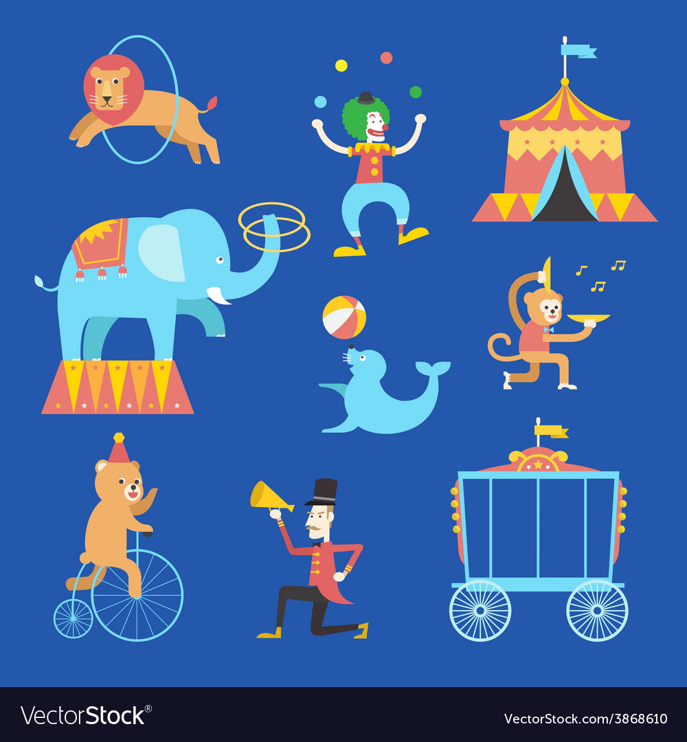 Circus theme icons set vector | Price: 1 Credit (USD $1)