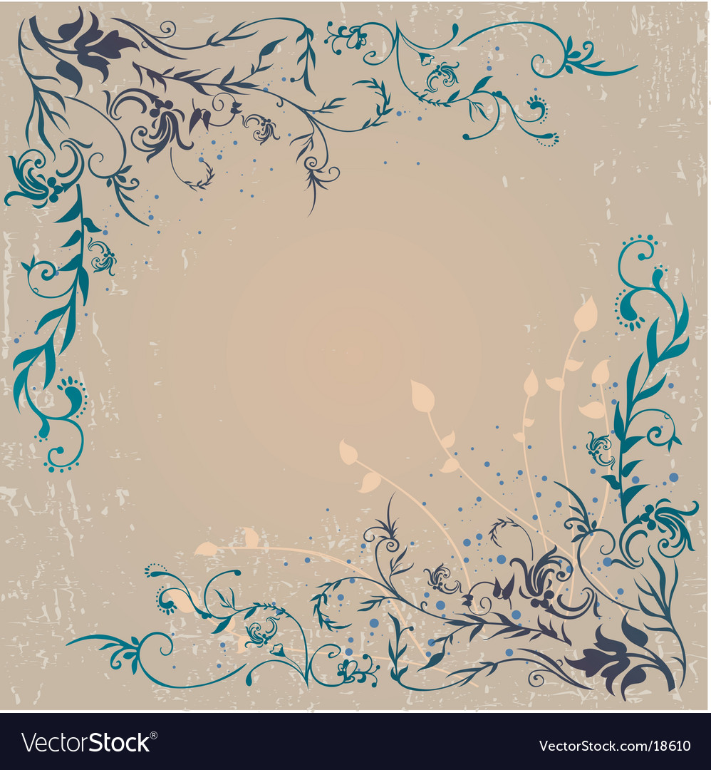 Floral edge frame design vector | Price: 1 Credit (USD $1)
