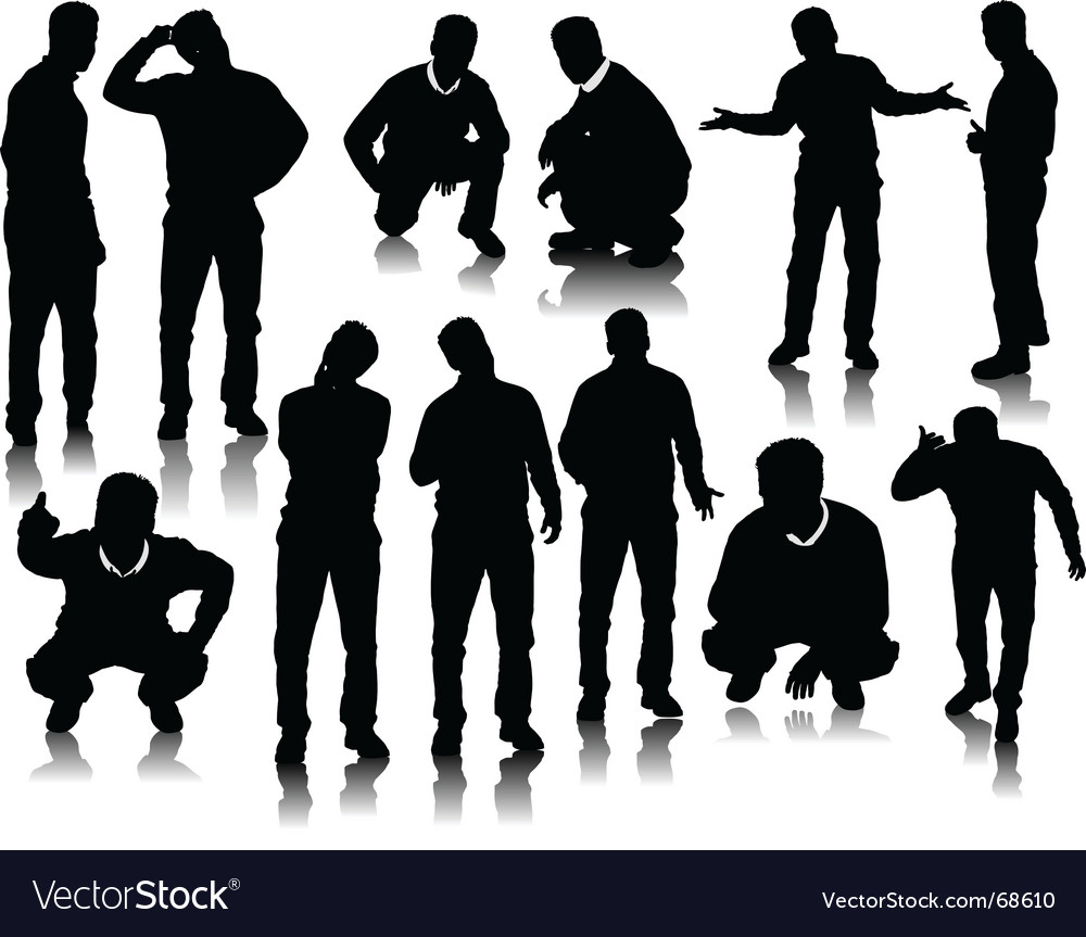 Men silhouettes vector | Price: 1 Credit (USD $1)