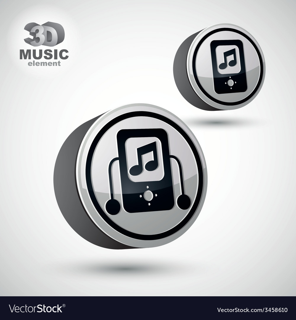 Mp3 player round icon isolated 3d design element vector | Price: 1 Credit (USD $1)