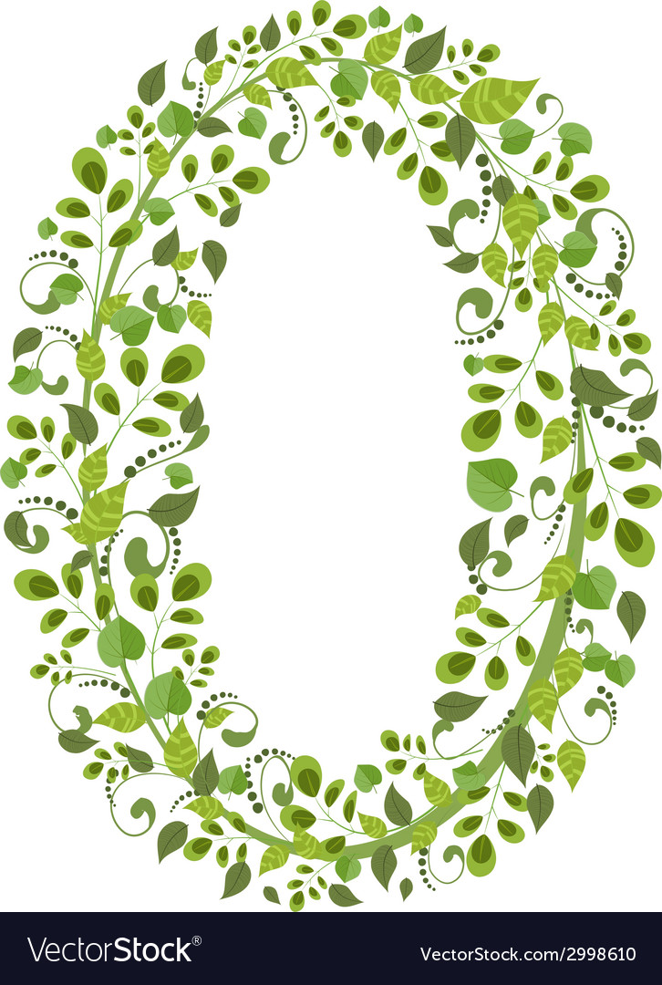 Spring green leaves eco number 0 vector | Price: 1 Credit (USD $1)