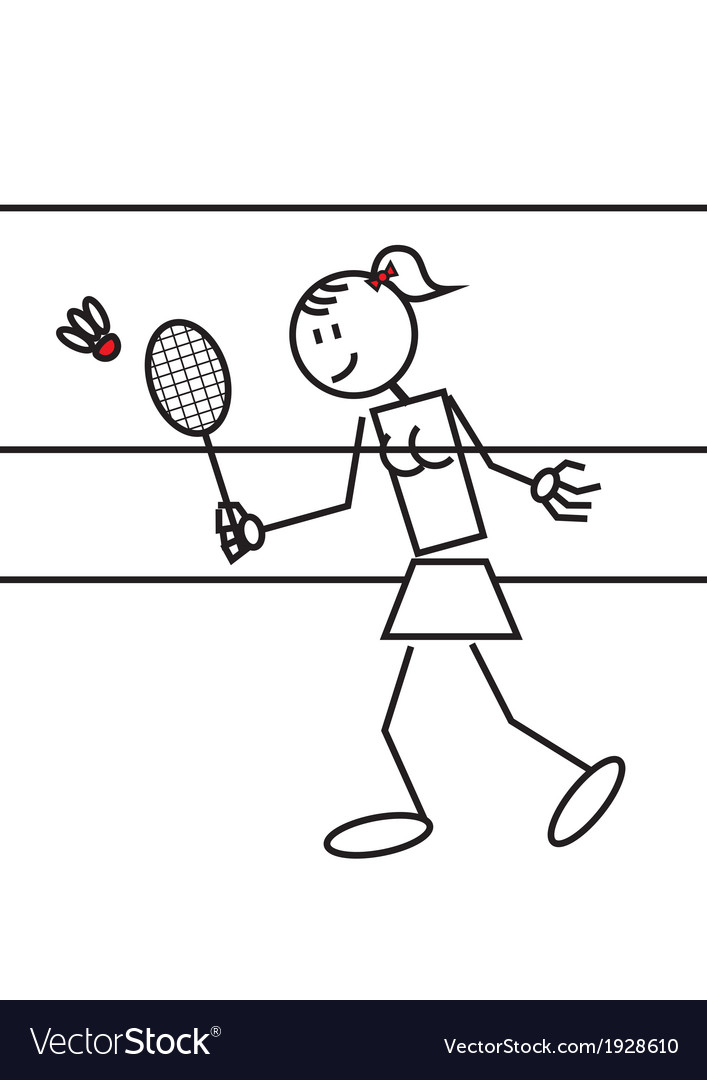 Stick figure badminton vector | Price: 1 Credit (USD $1)
