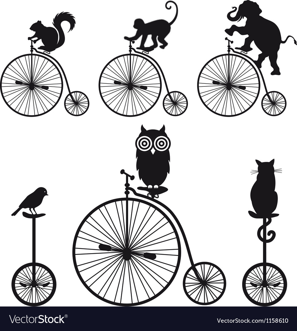 Vintage bicycle with animals set vector | Price: 1 Credit (USD $1)