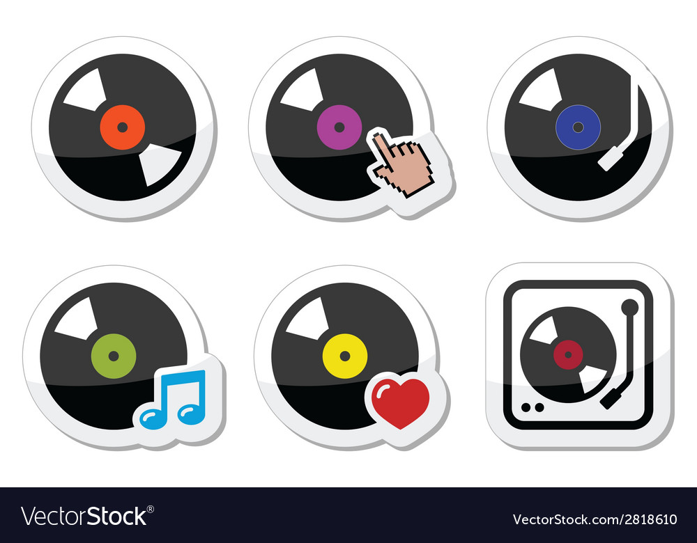Vinyl record dj icons set vector | Price: 1 Credit (USD $1)