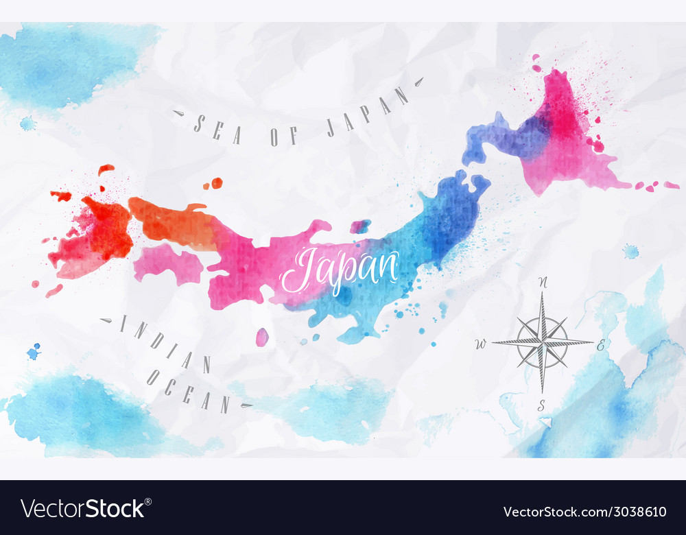 Watercolor map japan pink blue vector | Price: 1 Credit (USD $1)