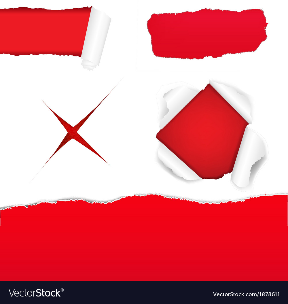 Big red torn paper set vector | Price: 1 Credit (USD $1)