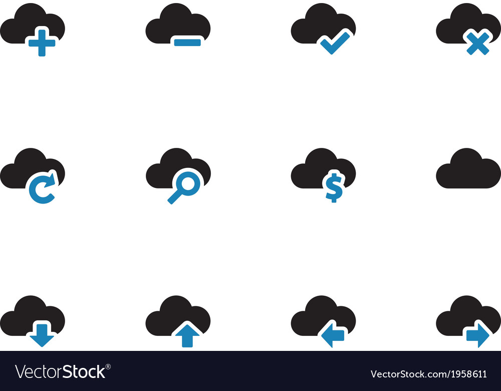 Cloud duotone icons on white background vector | Price: 1 Credit (USD $1)