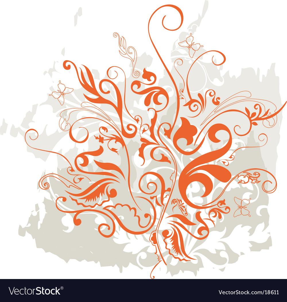 Grunge floral design element vector | Price: 1 Credit (USD $1)