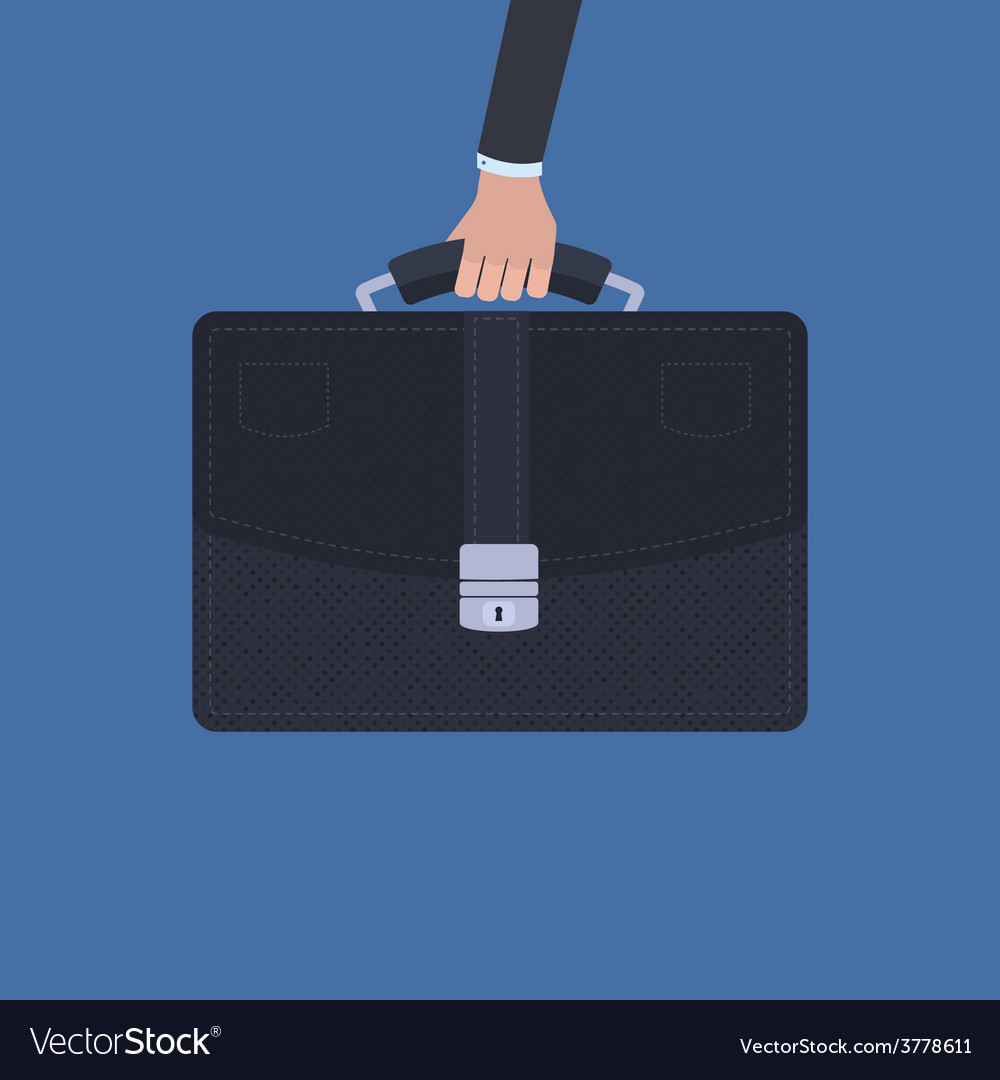 Hand holding a briefcase over blue background vector | Price: 1 Credit (USD $1)