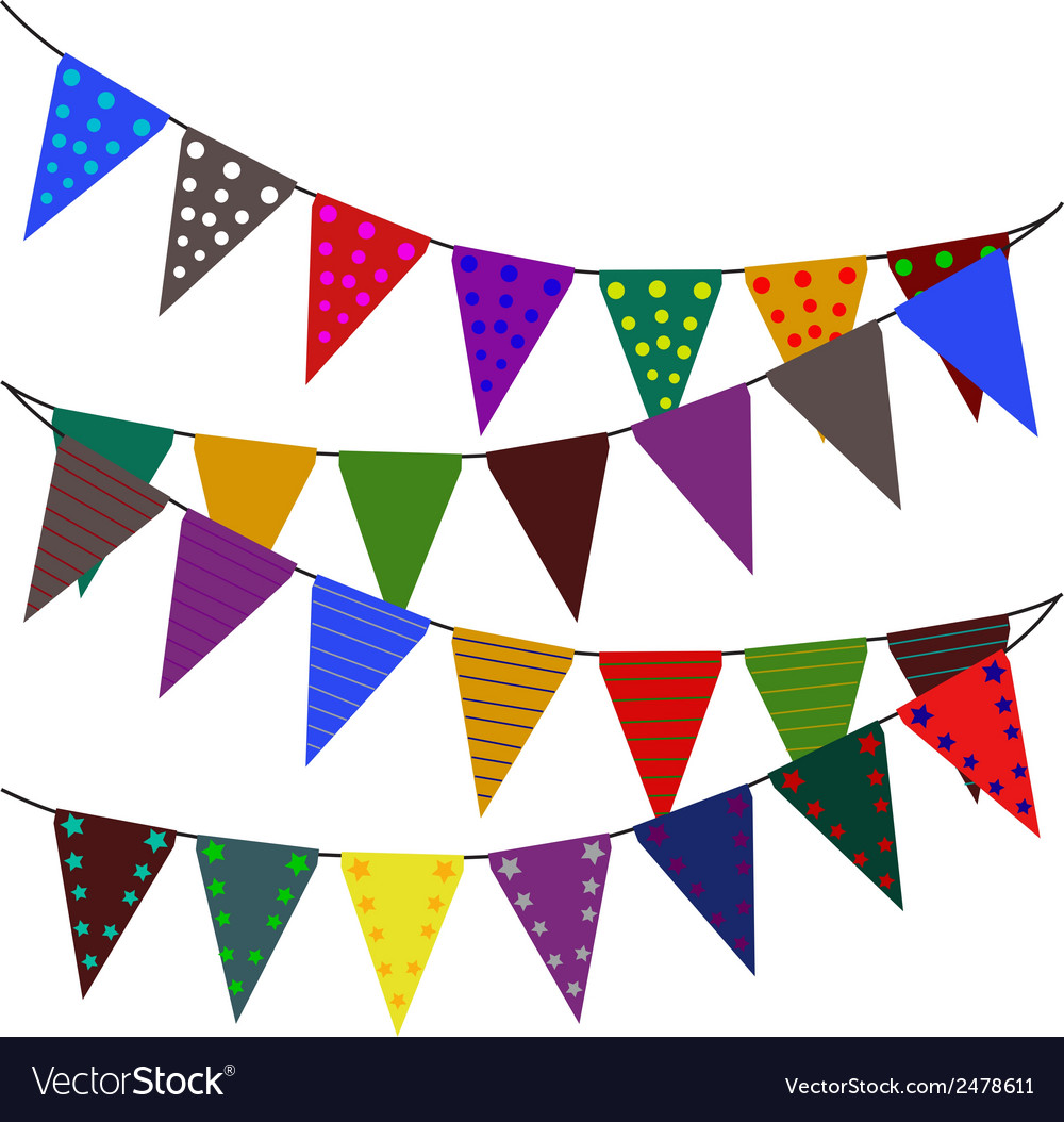 Multi colored triangular flags vector | Price: 1 Credit (USD $1)