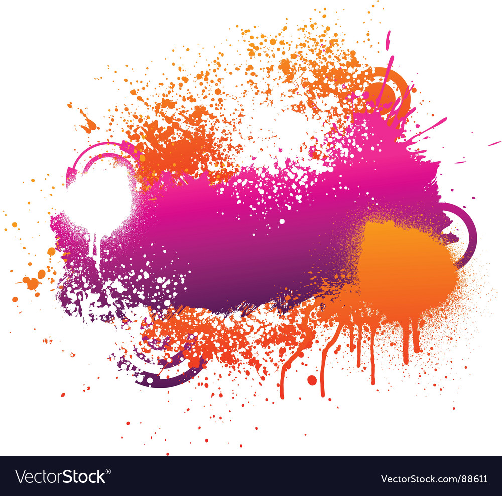 Purple and orange paint splatter vector | Price: 1 Credit (USD $1)