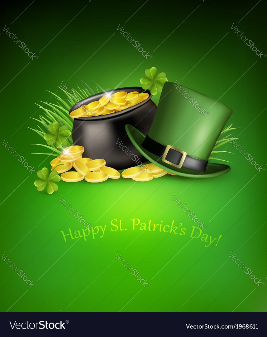 Saint patricks day background with clover leaves vector | Price: 1 Credit (USD $1)