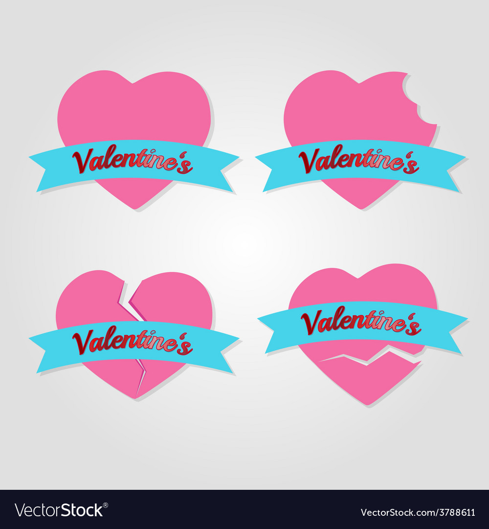 Set of hearts badges and labels valentines day vector | Price: 1 Credit (USD $1)