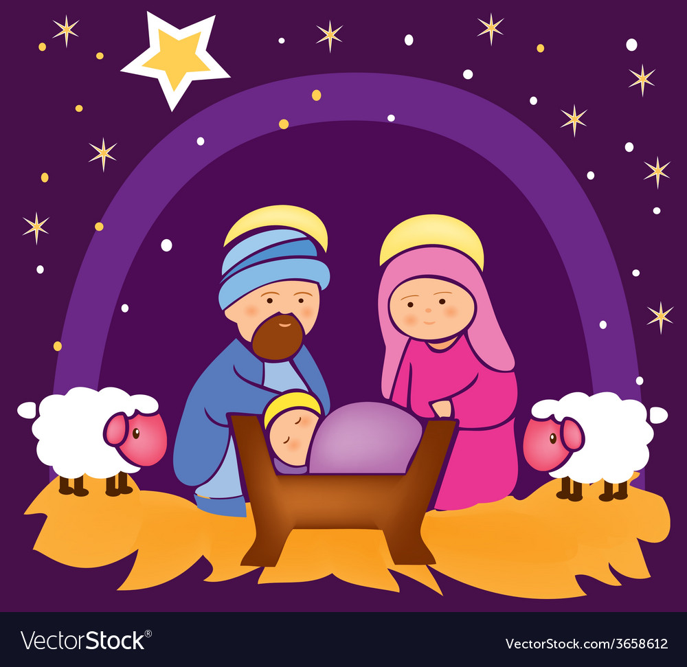 Baby jesus in a manger 4 vector | Price: 1 Credit (USD $1)