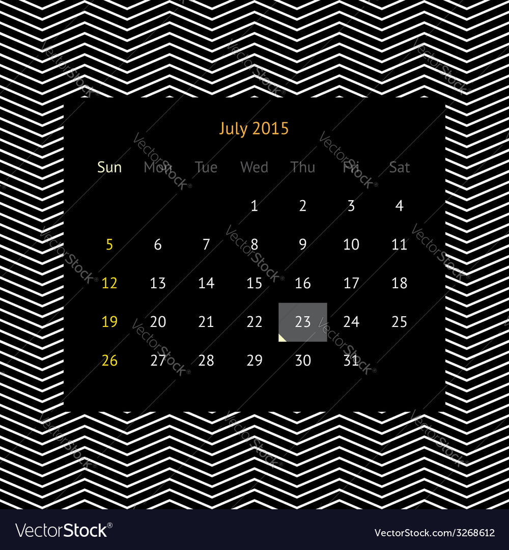 Calendar page for july 2015 vector | Price: 1 Credit (USD $1)