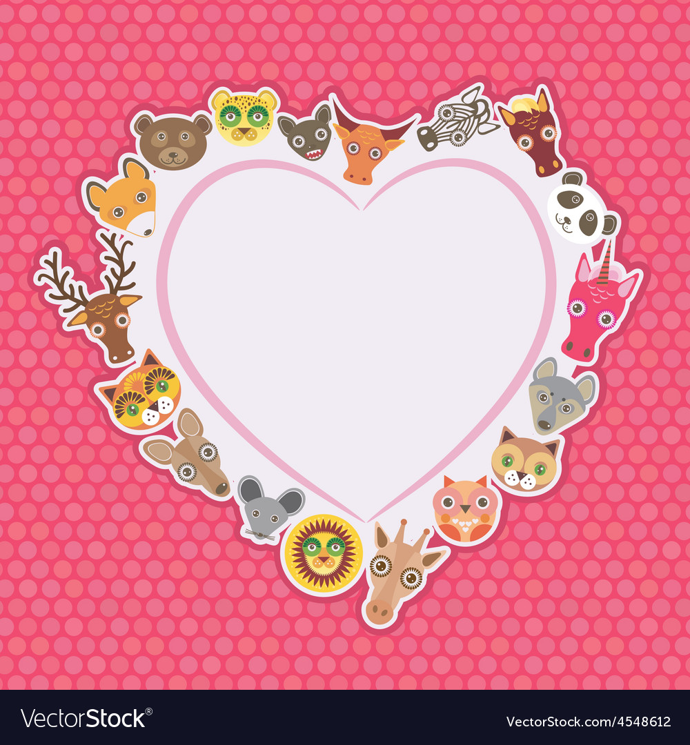 Funny animals card template white heart on pink vector | Price: 1 Credit (USD $1)