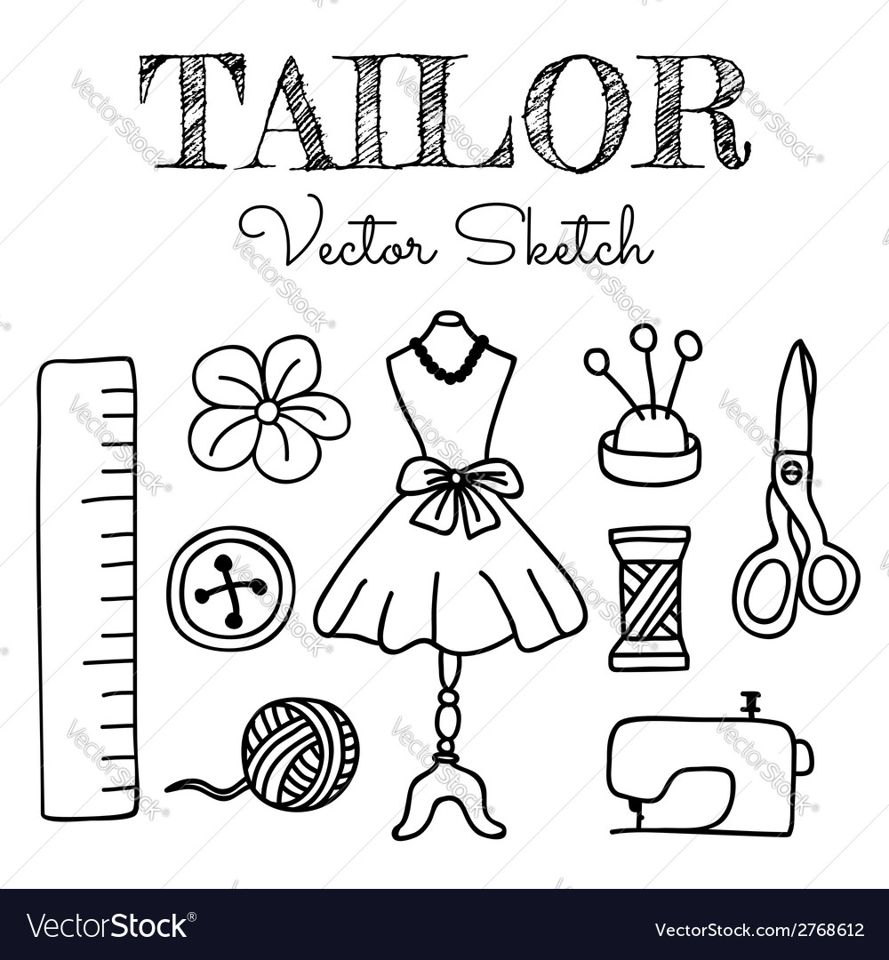 Hand-drawn tailor elements vector | Price: 1 Credit (USD $1)