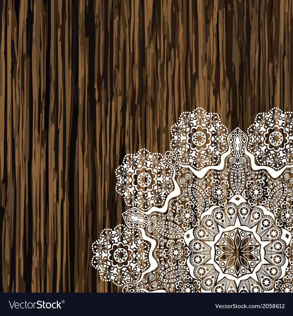 Napkin lace corner on a wooden table scrapbook vector | Price: 1 Credit (USD $1)