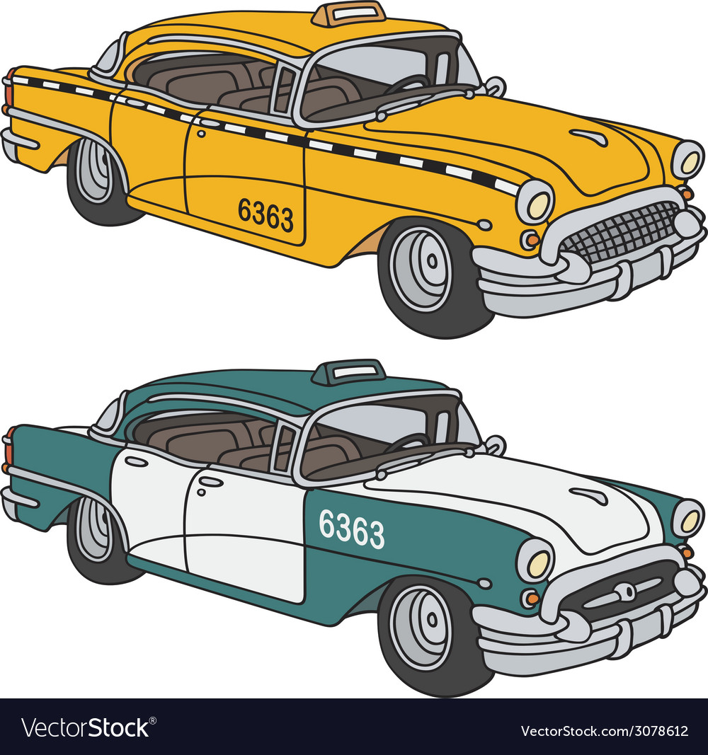 Old taxi cabs vector | Price: 1 Credit (USD $1)