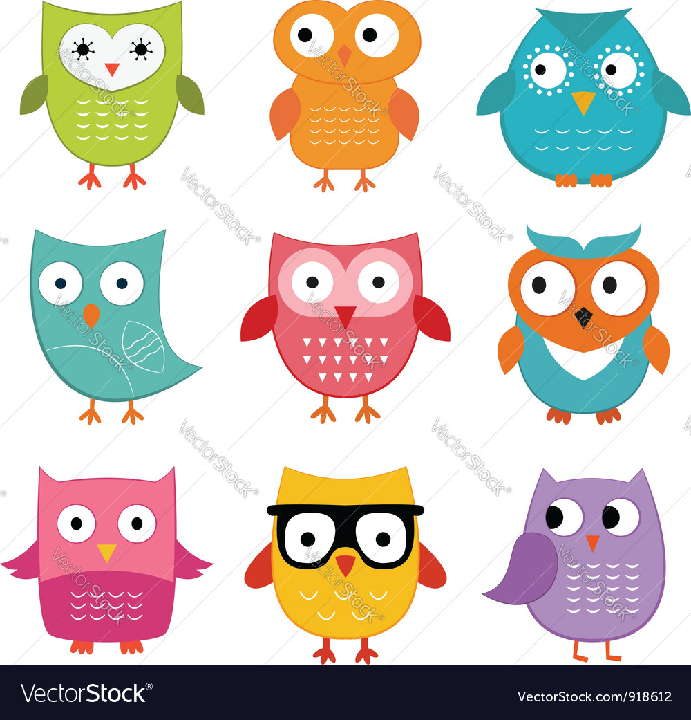 Owls set vector