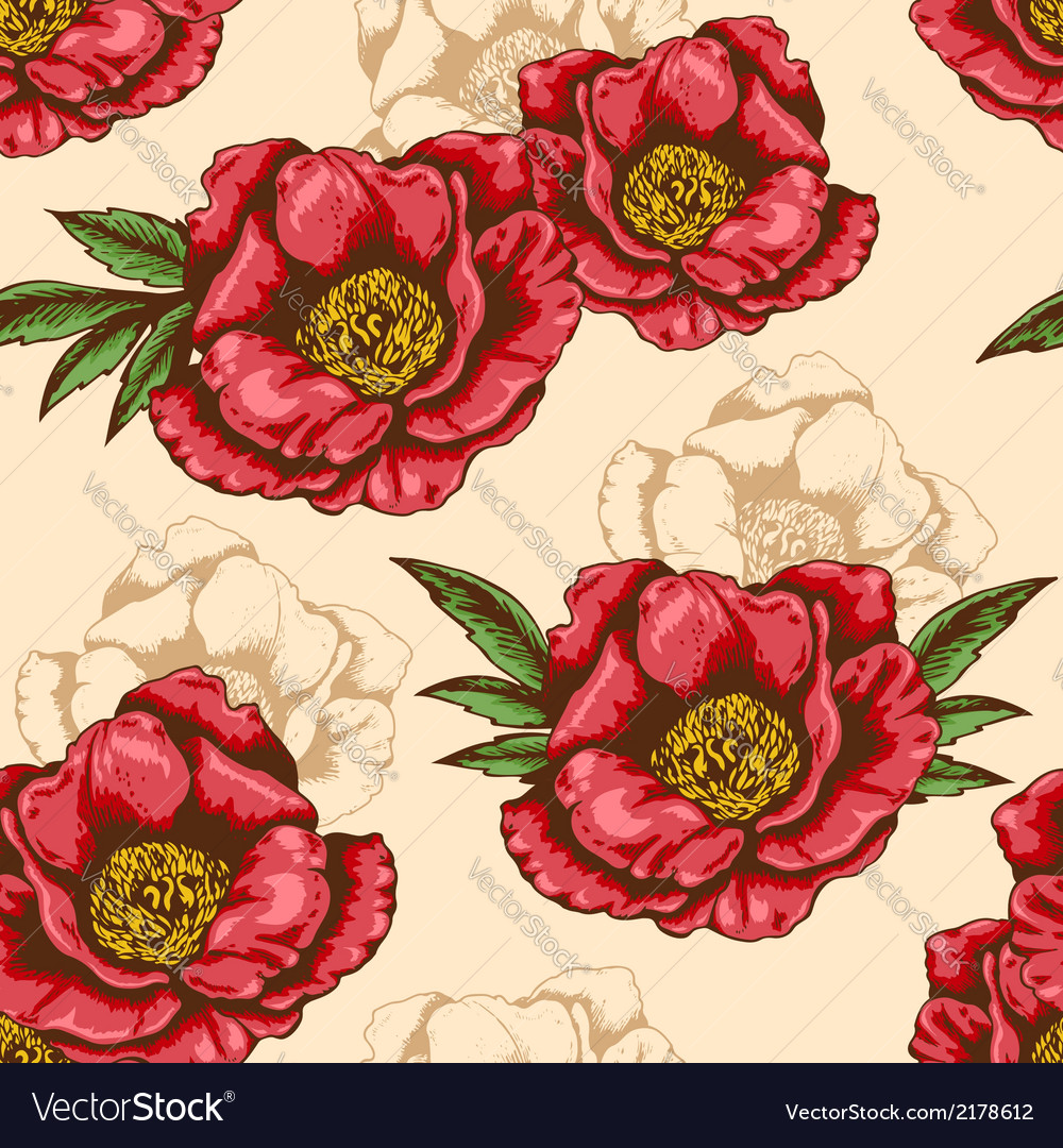 Seamless pattern with red peony vector | Price: 1 Credit (USD $1)