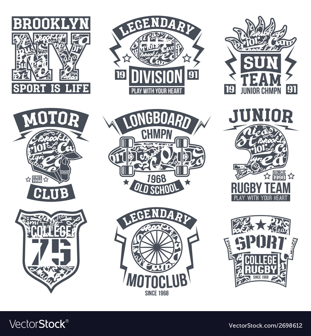 Sport emblem set graphic design for t shirt vector | Price: 1 Credit (USD $1)