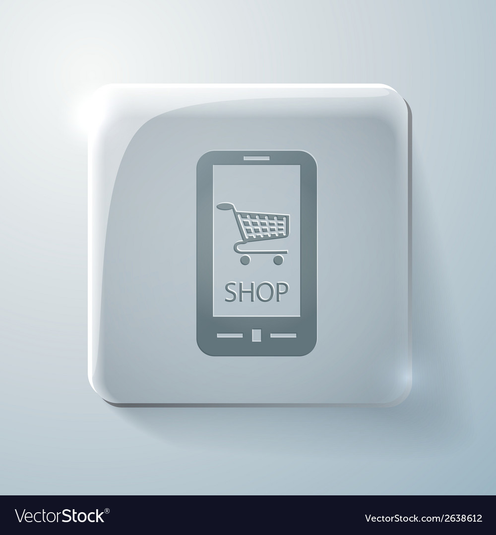 Symbol cart online store glass square icon vector | Price: 1 Credit (USD $1)