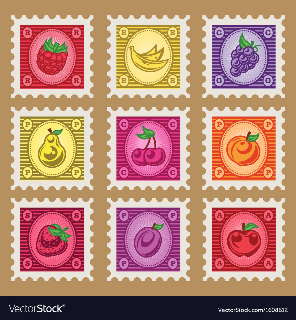 Vintage fruit stamps vector | Price: 1 Credit (USD $1)