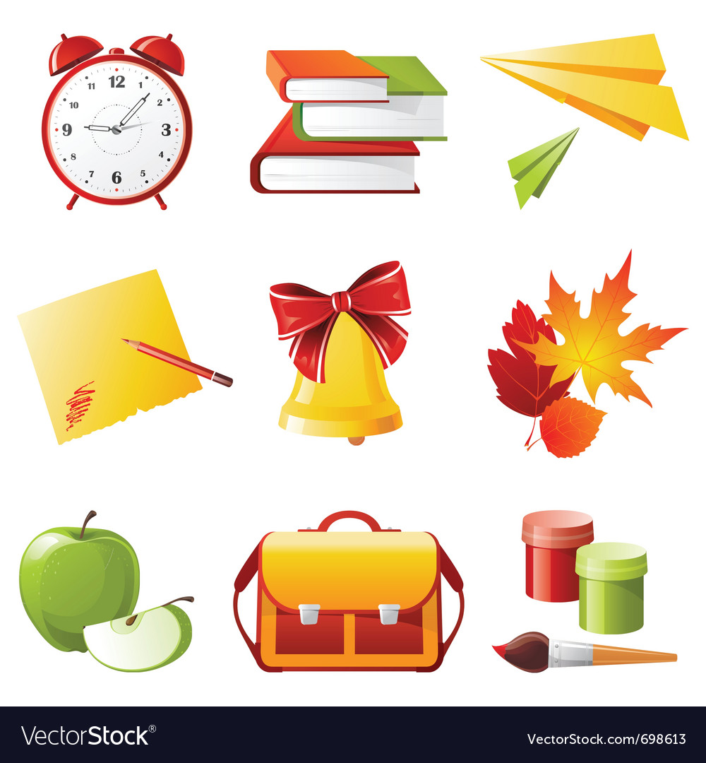 9 colorful school icons vector | Price: 3 Credit (USD $3)
