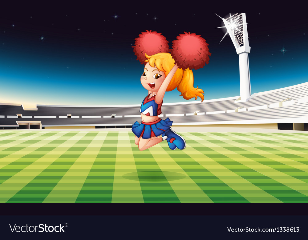 A soccer field with an energetic cheerdancer vector | Price: 1 Credit (USD $1)