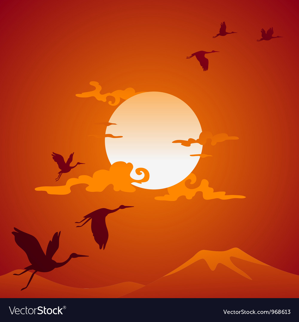 Abstract asian landscape with fly birds vector | Price: 1 Credit (USD $1)
