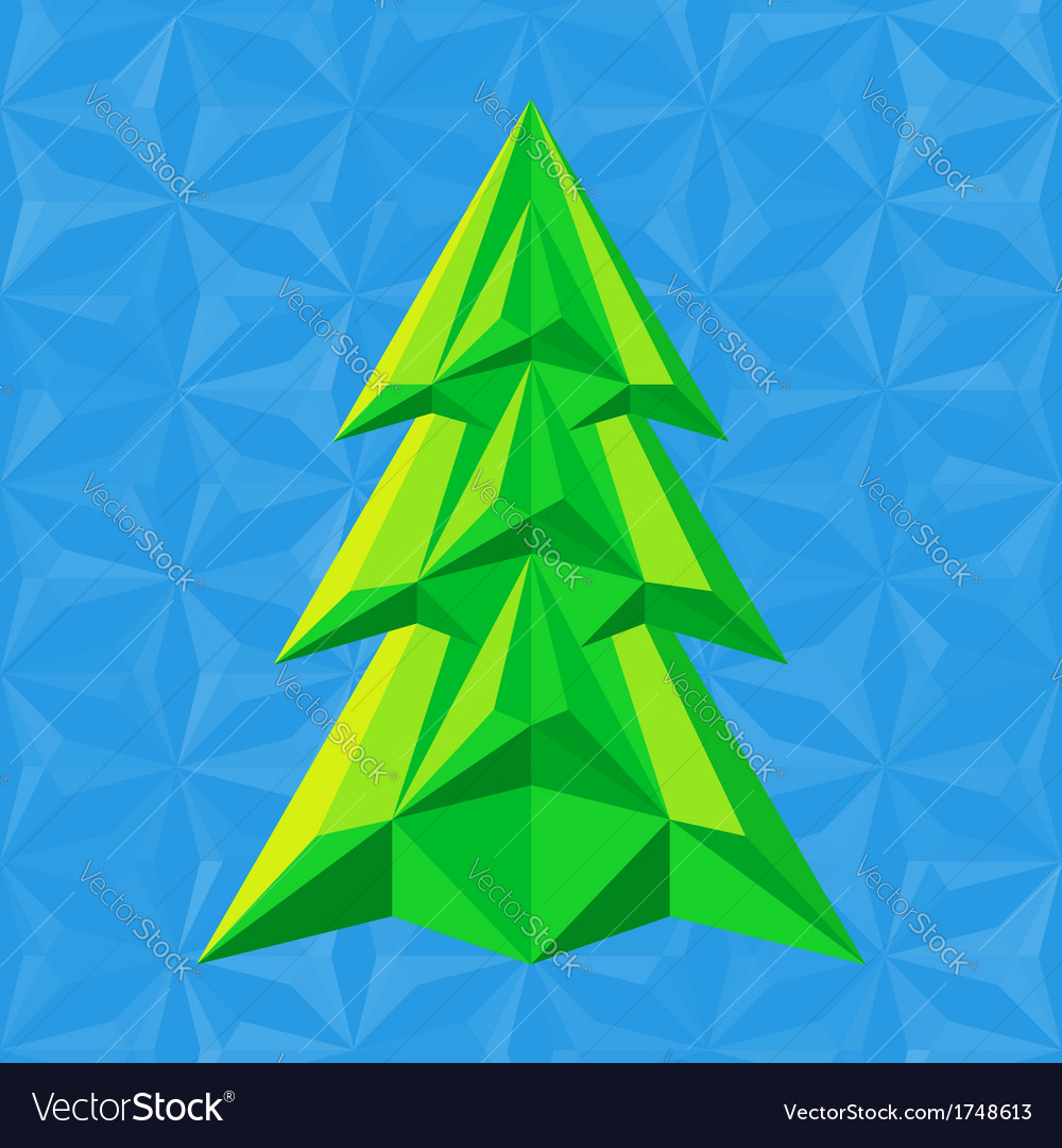 Abstract-green-christmas-tree-on-blue vector | Price: 1 Credit (USD $1)