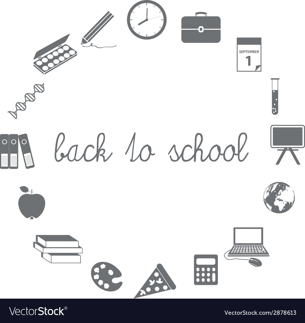 Back to school icons in circle vector | Price: 1 Credit (USD $1)