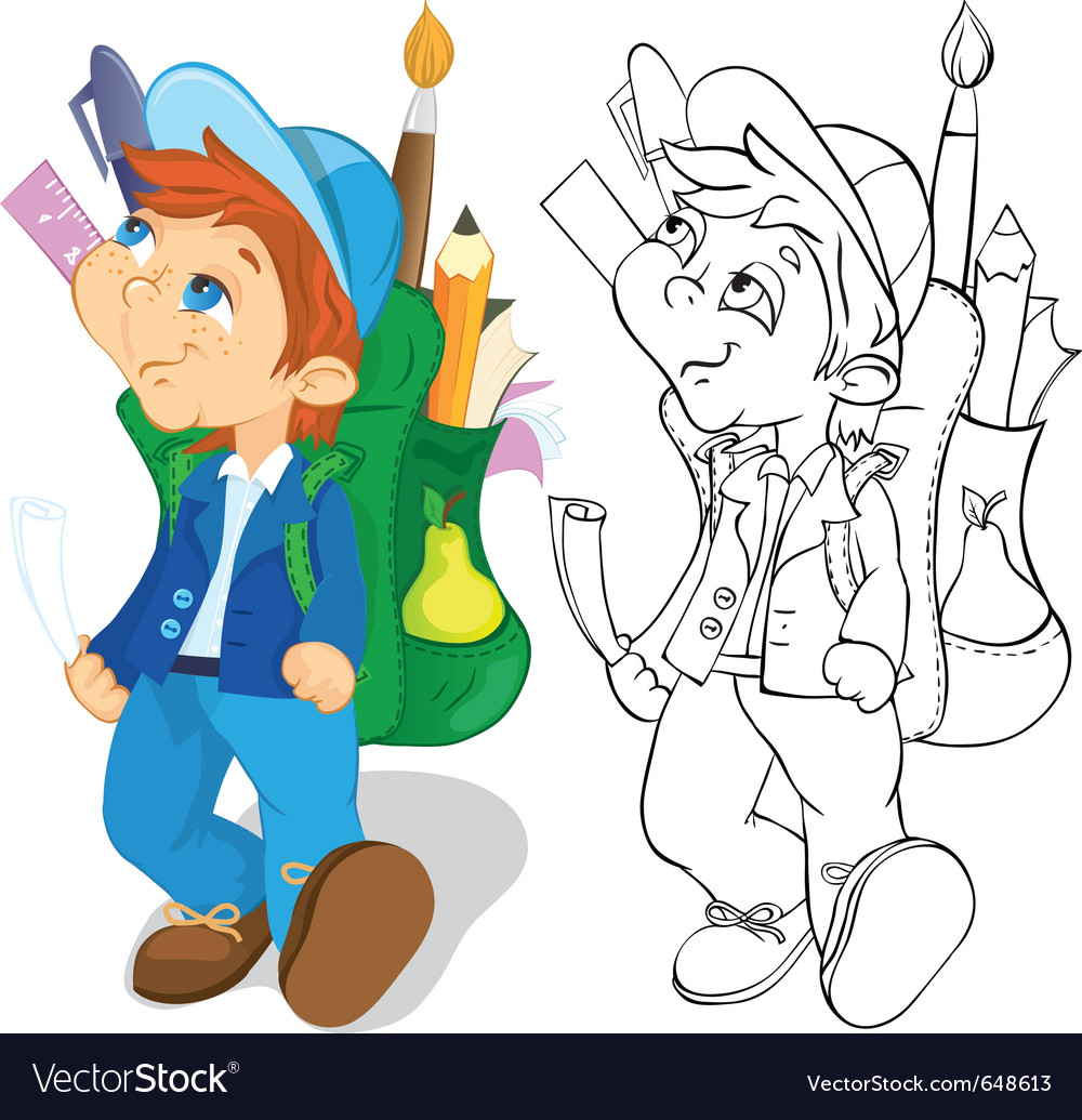 Boy with backpack vector | Price: 3 Credit (USD $3)