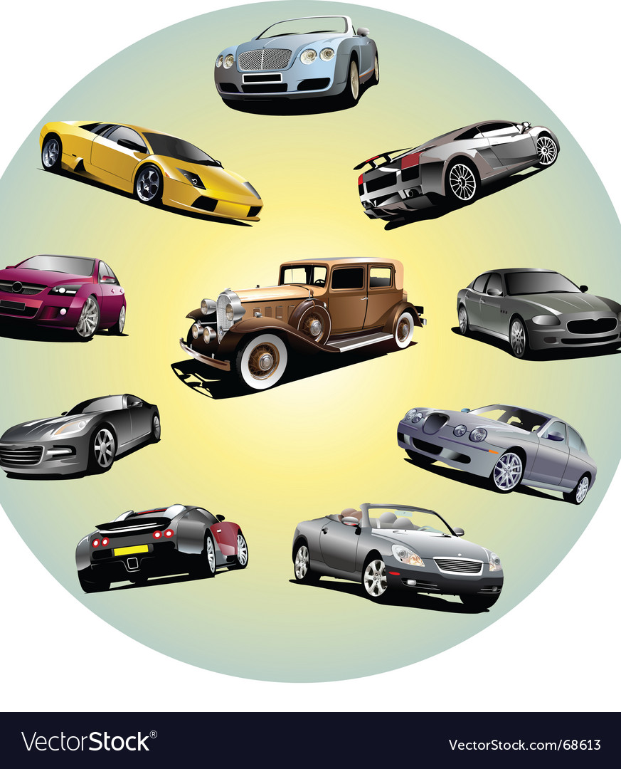 Cars in circle vector | Price: 1 Credit (USD $1)