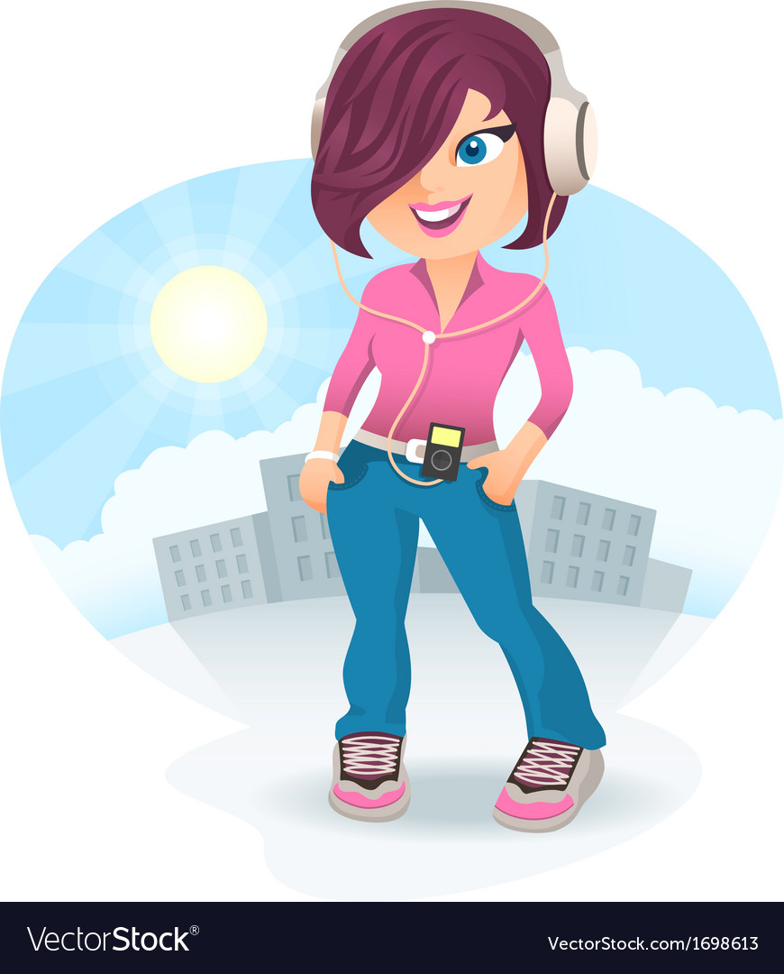 Cartoon girl in headphones vector | Price: 1 Credit (USD $1)