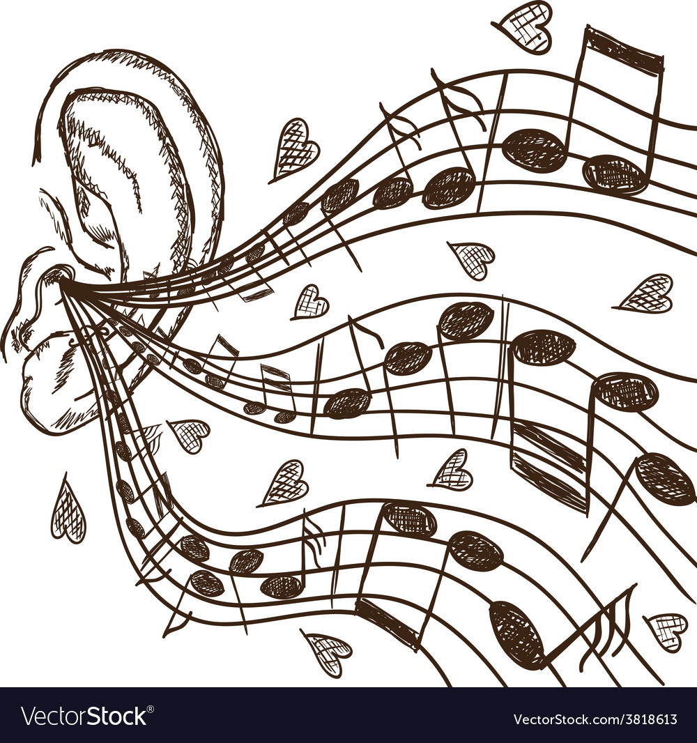 Ear and notes vector | Price: 1 Credit (USD $1)