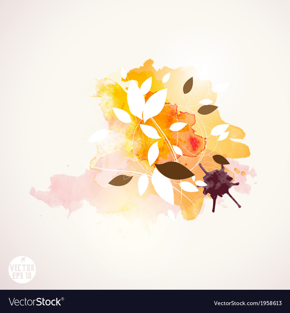 Leaf and watercolor paint background vector | Price: 1 Credit (USD $1)