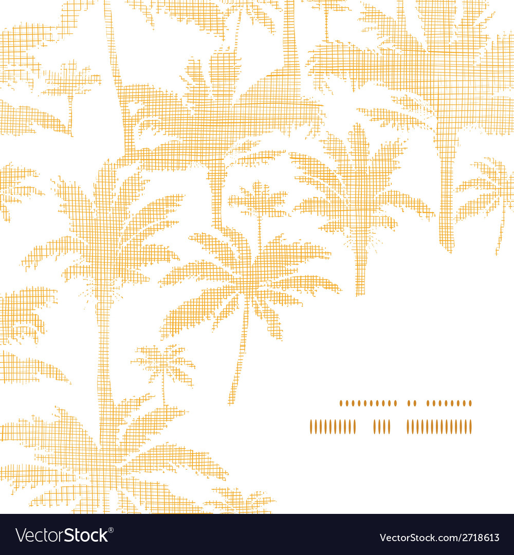 Palm trees golden textile frame corner pattern vector | Price: 1 Credit (USD $1)