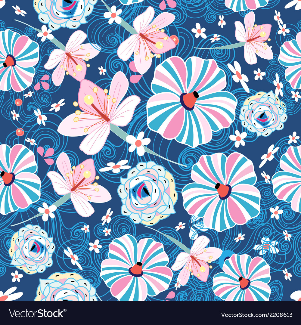 Pattern with different colored flowers vector | Price: 1 Credit (USD $1)