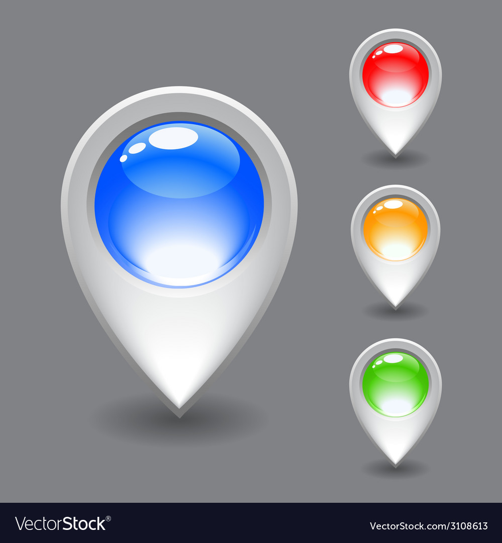 Set of white map pointer icon vector | Price: 1 Credit (USD $1)
