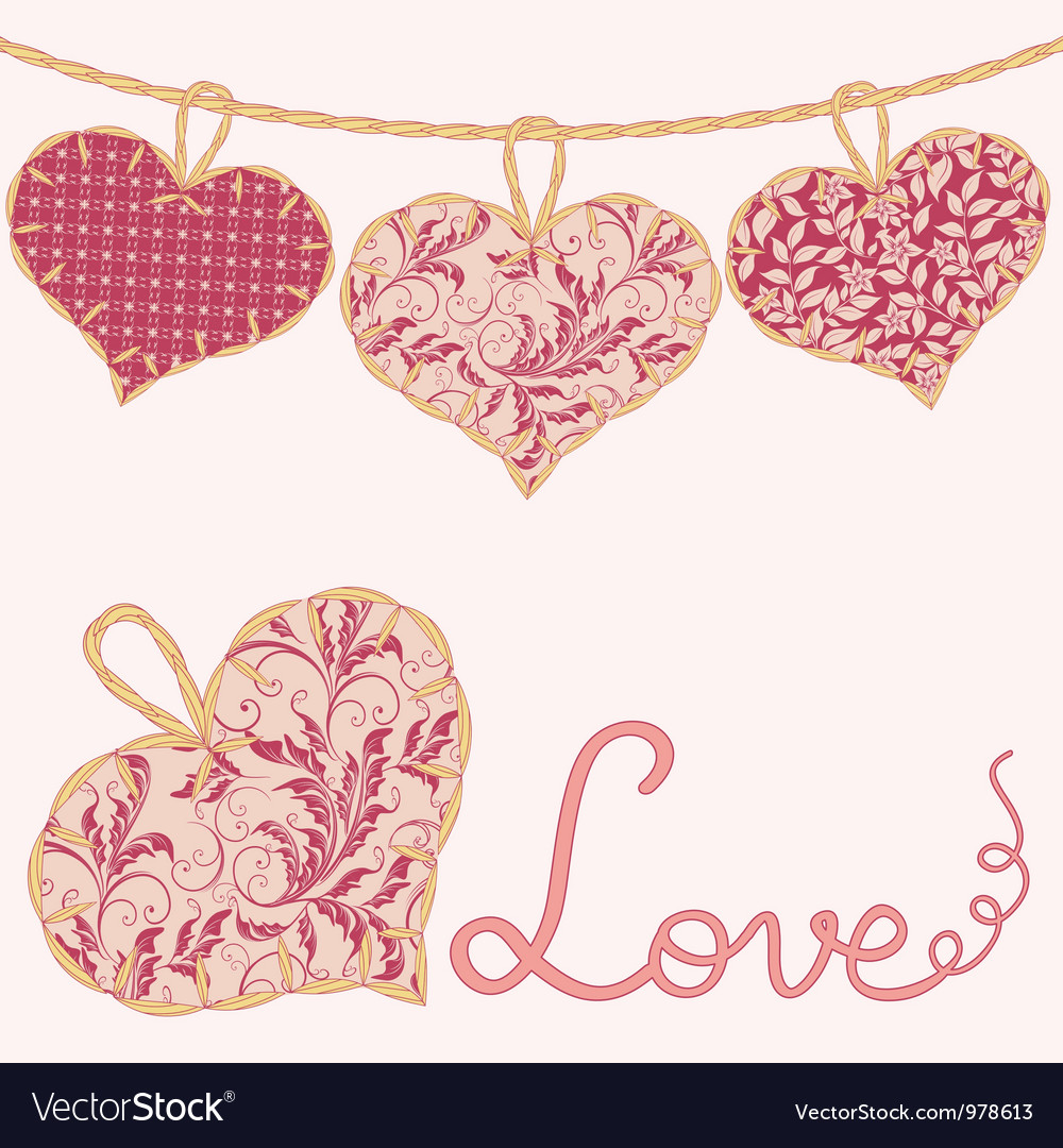 Valentine card with handmade textile hearts vector | Price: 1 Credit (USD $1)