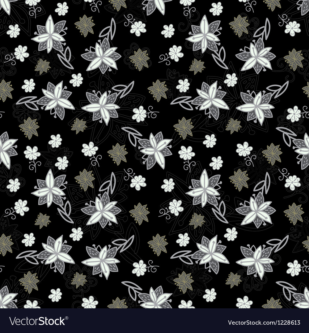 Vintage black and white floral seamless pattern vector | Price: 1 Credit (USD $1)