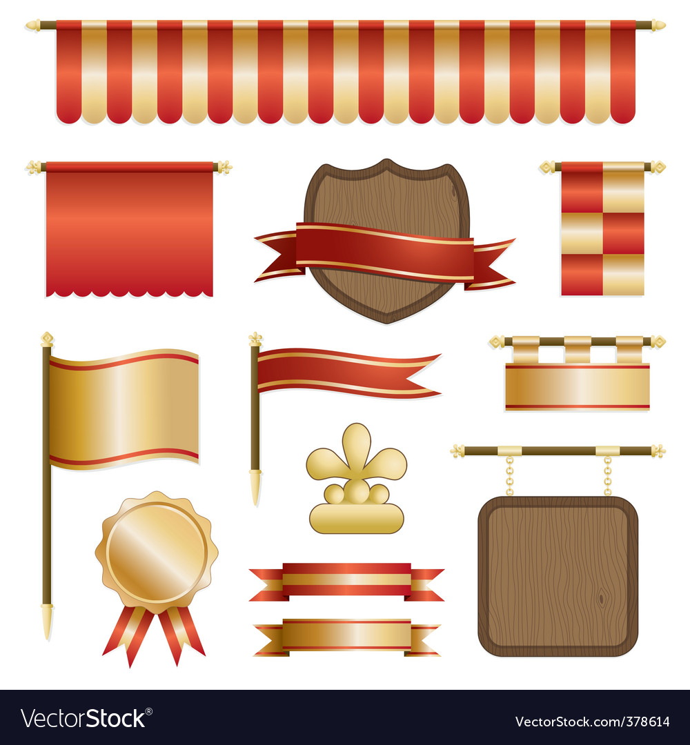 Banners and shields vector | Price: 1 Credit (USD $1)
